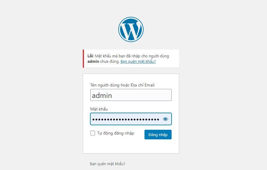 quen mat khau dang nhap admin website wordpress
