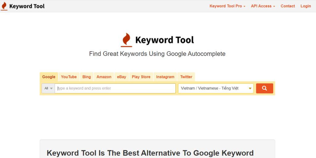 Công cụ từ khóa Keyword Tool - Võ Chí Thành