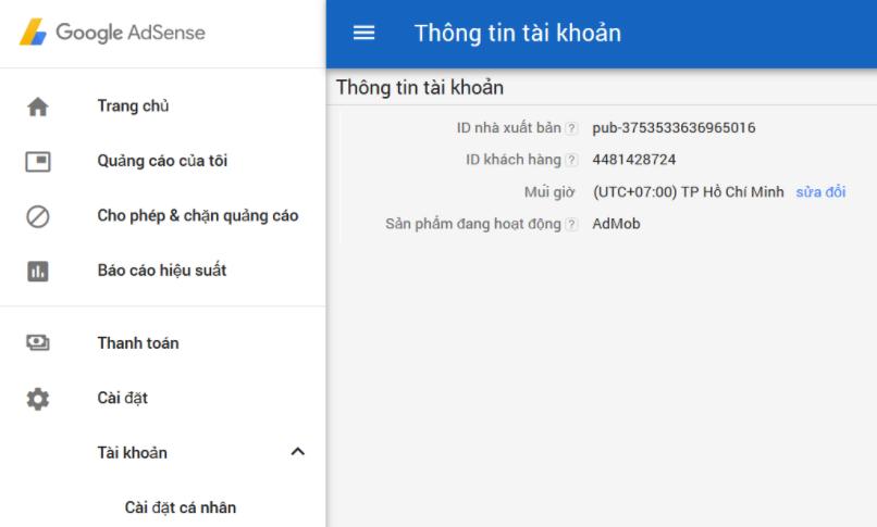 Tài khoản Google Adsense Admod