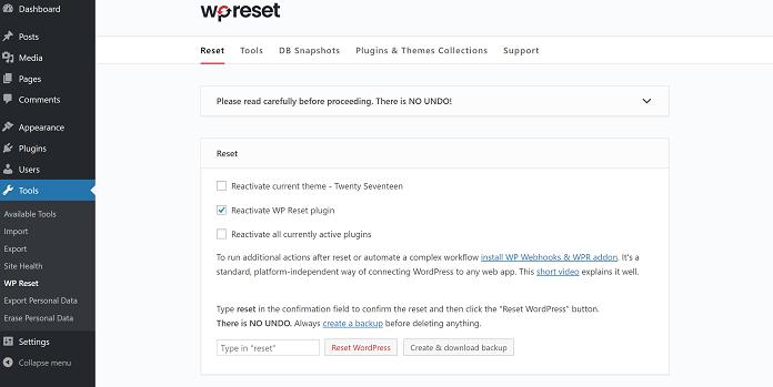 WP Reset Pro v6.00 – Advanded Reset WordPress Tools - Cài đặt lại WordPress mặc định - WP-Reset-Pro-plugin-1